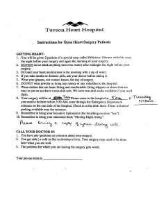 Photo of Tucson Heart Hospital instructions
